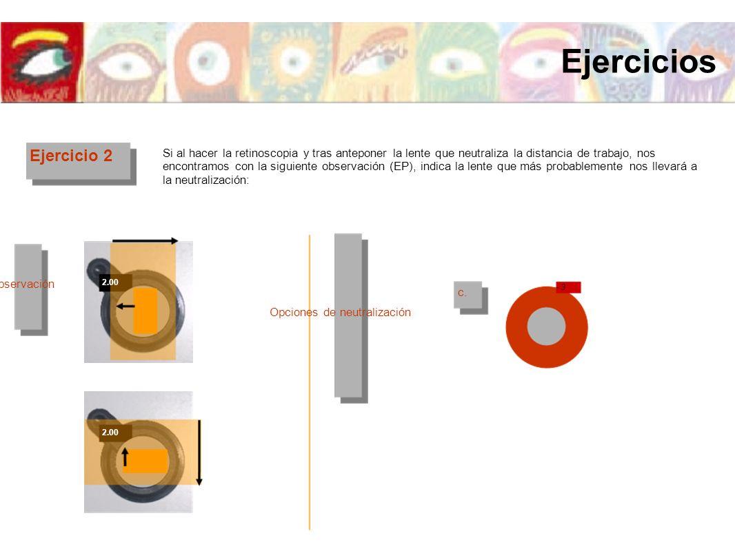 Ejercicios Ejercicio 2. Si al hacer la retinoscopia y tras anteponer la lente que neutraliza la distancia de trabajo, nos.