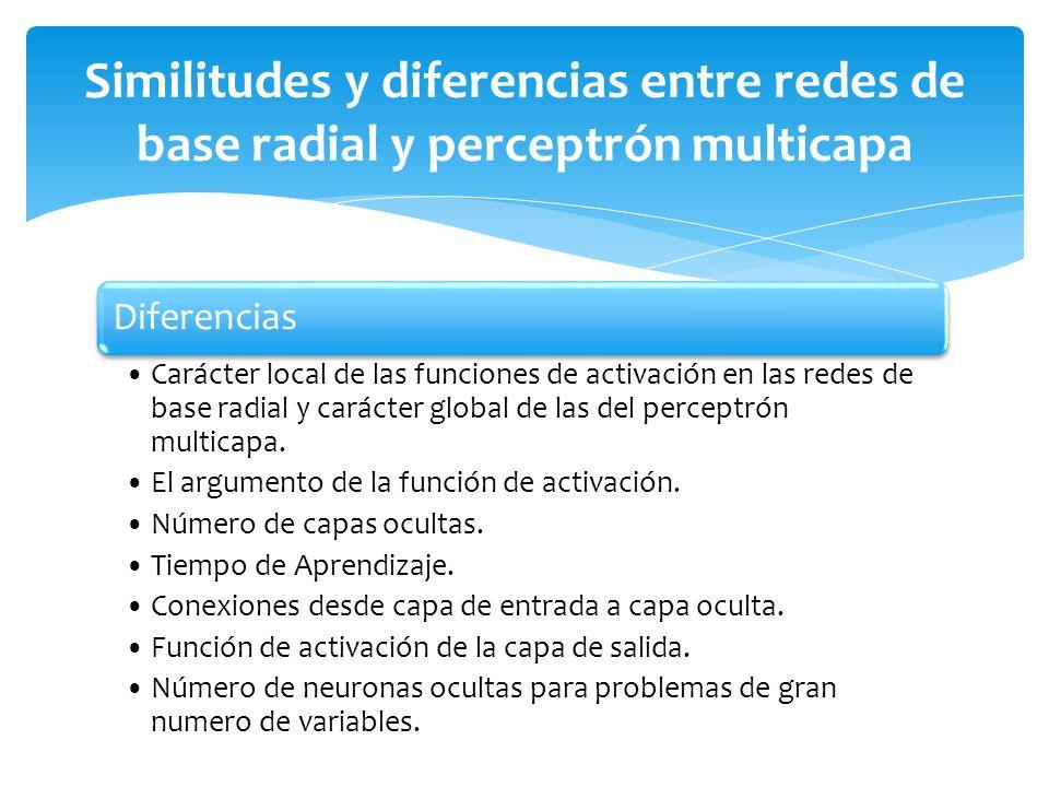Similitudes y diferencias entre redes de base radial y perceptrón multicapa
