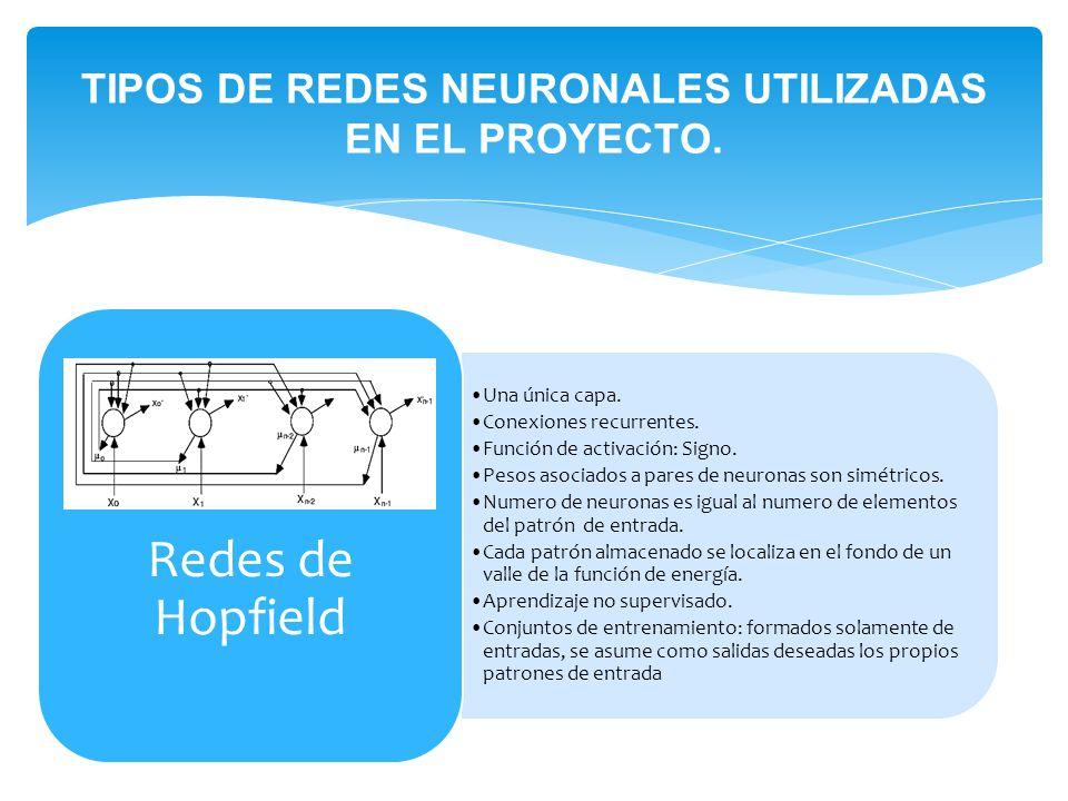 TIPOS DE REDES NEURONALES UTILIZADAS EN EL PROYECTO.