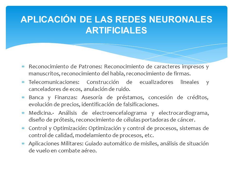 APLICACIÓN DE LAS REDES NEURONALES ARTIFICIALES