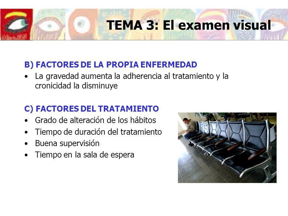TEMA 3: El examen visual B) FACTORES DE LA PROPIA ENFERMEDAD