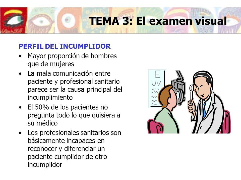 TEMA 3: El examen visual PERFIL DEL INCUMPLIDOR