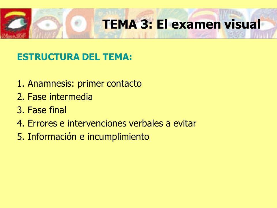 TEMA 3: El examen visual ESTRUCTURA DEL TEMA:
