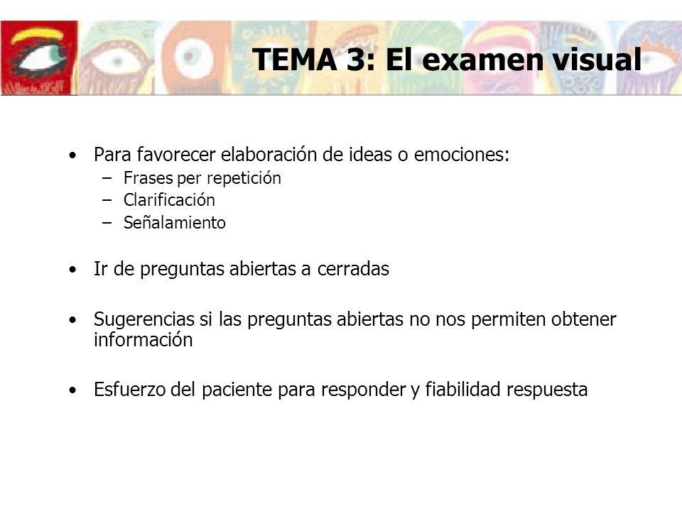 TEMA 3: El examen visual Para favorecer elaboración de ideas o emociones: Frases per repetición. Clarificación.