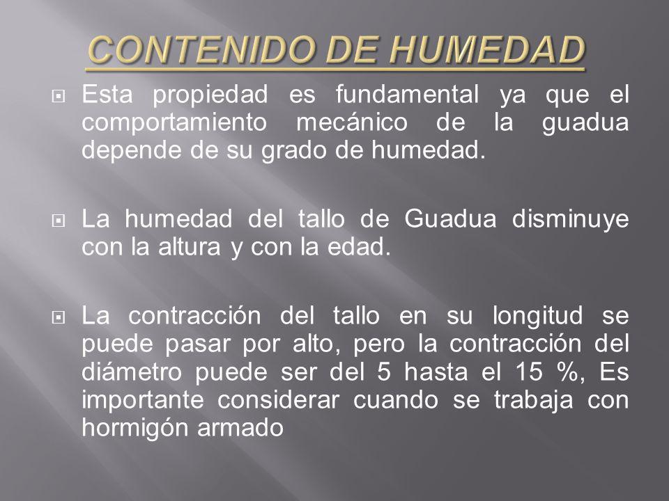 CONTENIDO DE HUMEDAD Esta propiedad es fundamental ya que el comportamiento mecánico de la guadua depende de su grado de humedad.