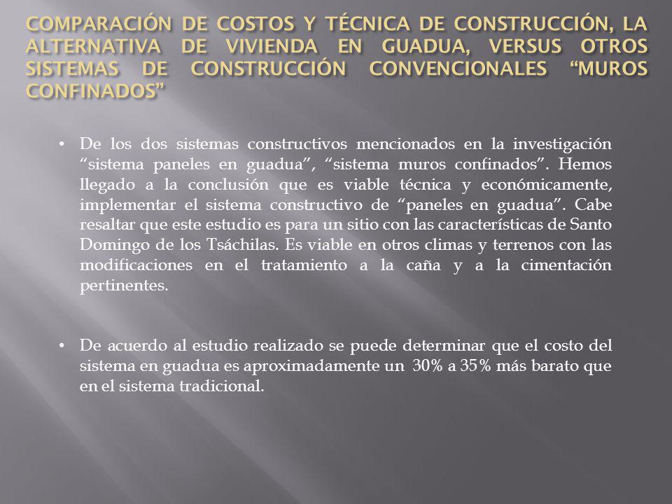 COMPARACIÓN DE COSTOS Y TÉCNICA DE CONSTRUCCIÓN, LA ALTERNATIVA DE VIVIENDA EN GUADUA, VERSUS OTROS SISTEMAS DE CONSTRUCCIÓN CONVENCIONALES MUROS CONFINADOS