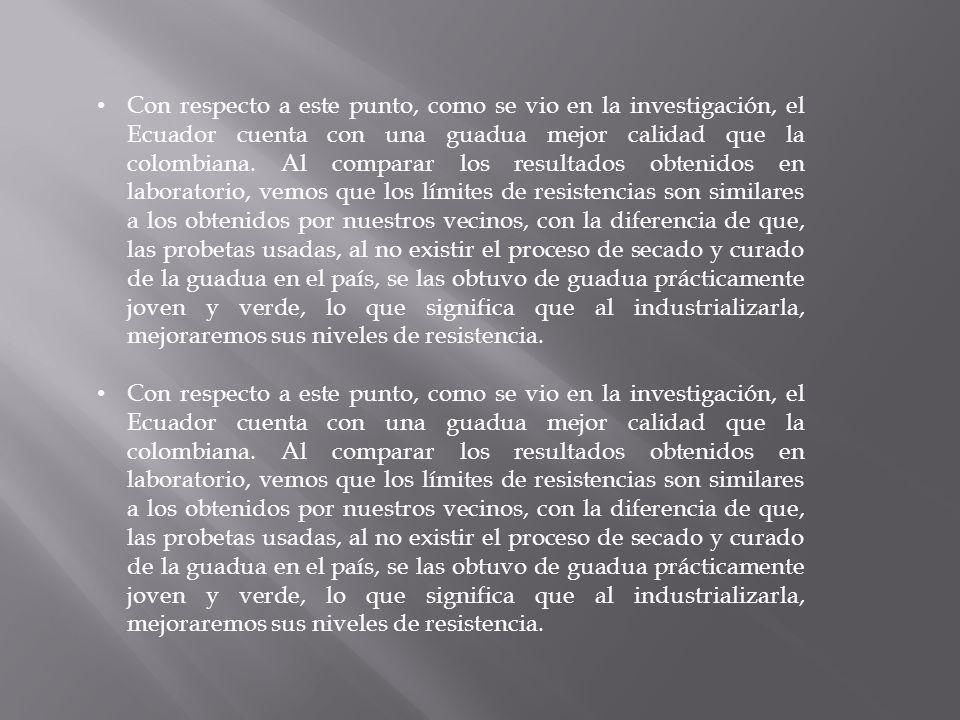 Con respecto a este punto, como se vio en la investigación, el Ecuador cuenta con una guadua mejor calidad que la colombiana.