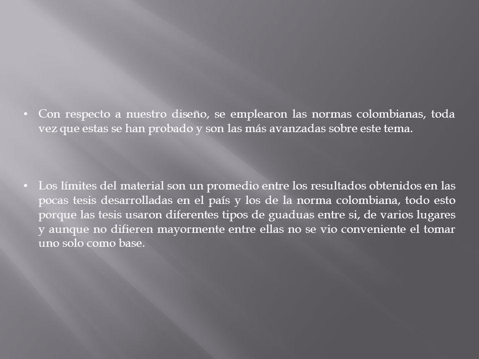 Con respecto a nuestro diseño, se emplearon las normas colombianas, toda vez que estas se han probado y son las más avanzadas sobre este tema.
