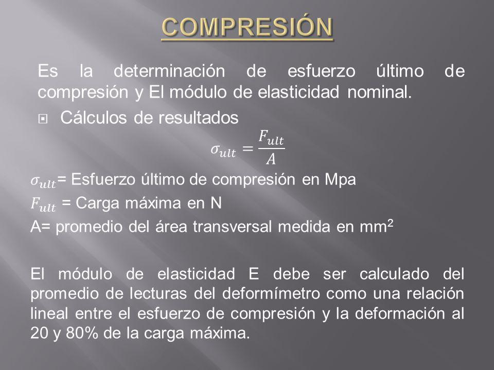 COMPRESIÓN Es la determinación de esfuerzo último de compresión y El módulo de elasticidad nominal.