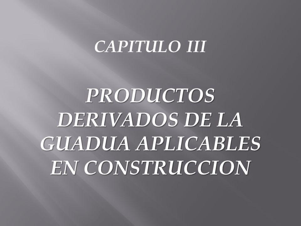 PRODUCTOS DERIVADOS DE LA GUADUA APLICABLES EN CONSTRUCCION