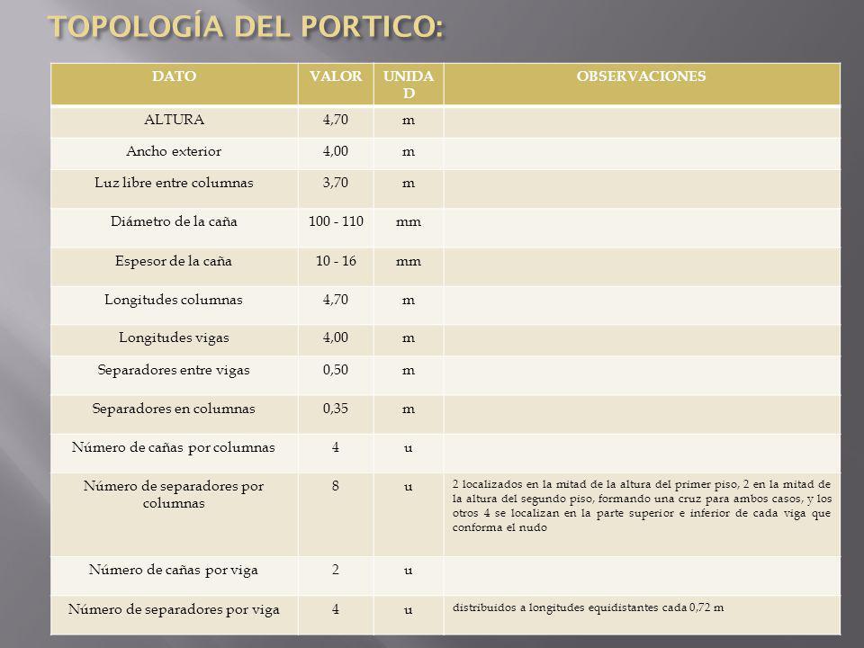TOPOLOGÍA DEL PORTICO: