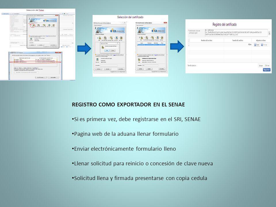 REGISTRO COMO EXPORTADOR EN EL SENAE