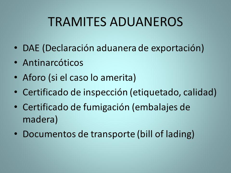 TRAMITES ADUANEROS DAE (Declaración aduanera de exportación)