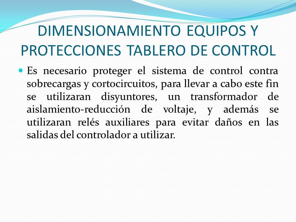 DIMENSIONAMIENTO EQUIPOS Y PROTECCIONES TABLERO DE CONTROL