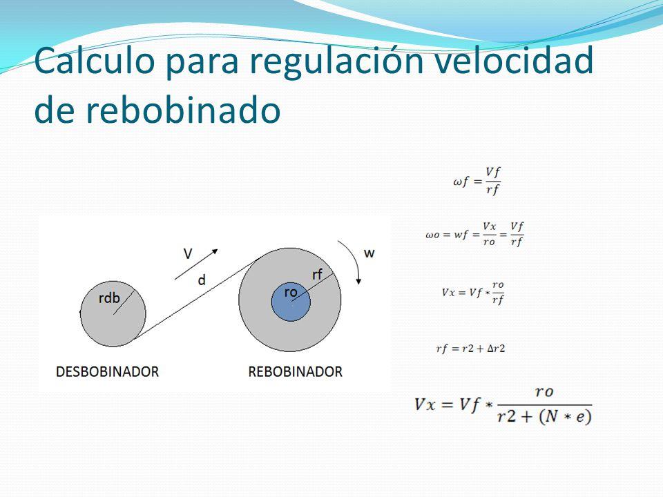 Calculo para regulación velocidad de rebobinado