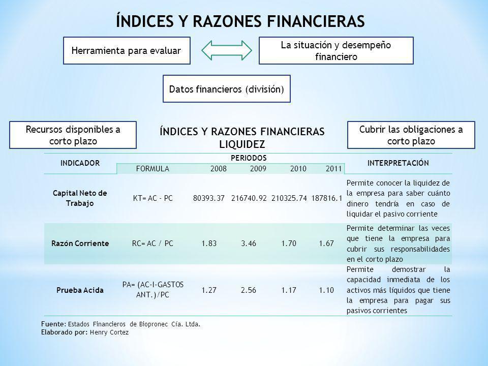 índices y razones financieras