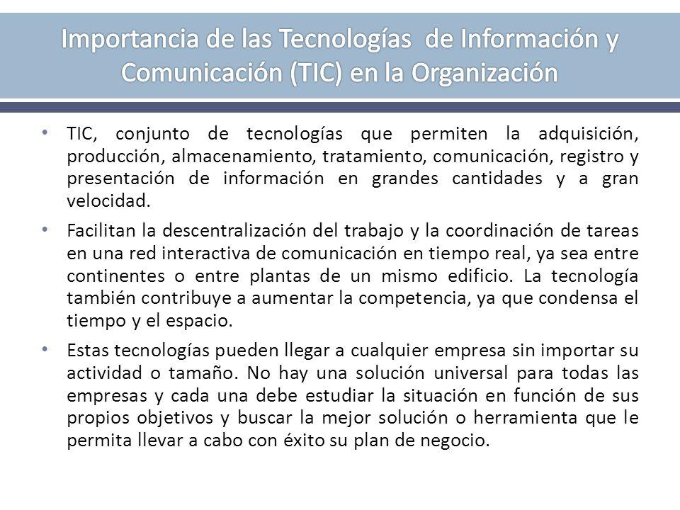 Importancia de las Tecnologías de Información y Comunicación (TIC) en la Organización
