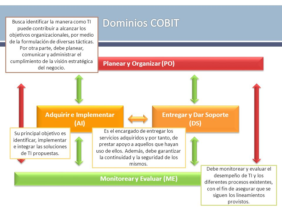 Dominios COBIT Planear y Organizar (PO) Adquirir e Implementar (AI)