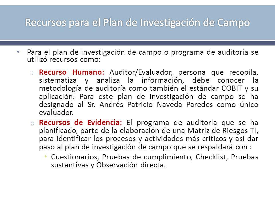 Recursos para el Plan de Investigación de Campo