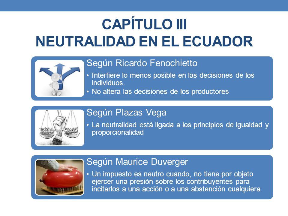 CAPÍTULO III NEUTRALIDAD EN EL ECUADOR