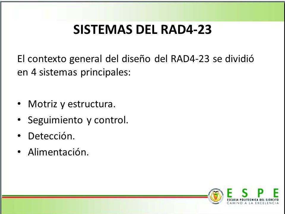 SISTEMAS DEL RAD4-23 El contexto general del diseño del RAD4-23 se dividió en 4 sistemas principales: