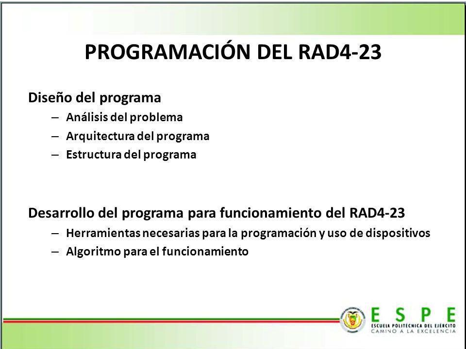 PROGRAMACIÓN DEL RAD4-23 Diseño del programa