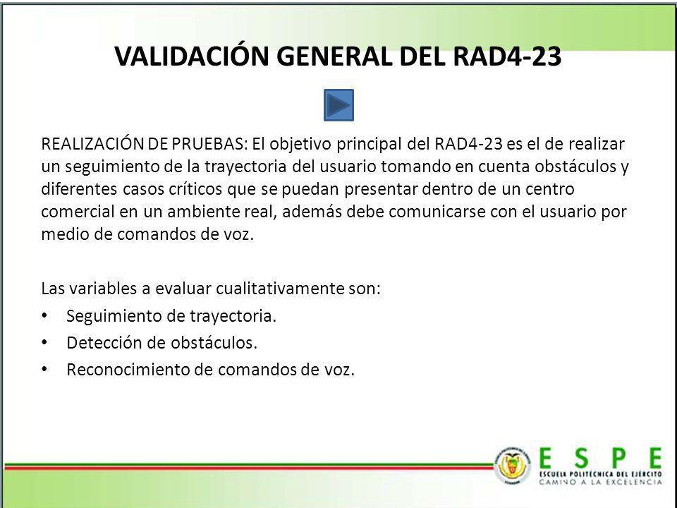 VALIDACIÓN GENERAL DEL RAD4-23