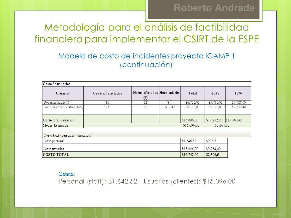 Modelo de costo de incidentes proyecto ICAMP II (continuación)