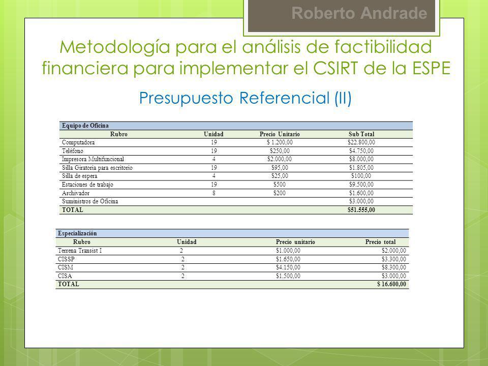 Presupuesto Referencial (II)