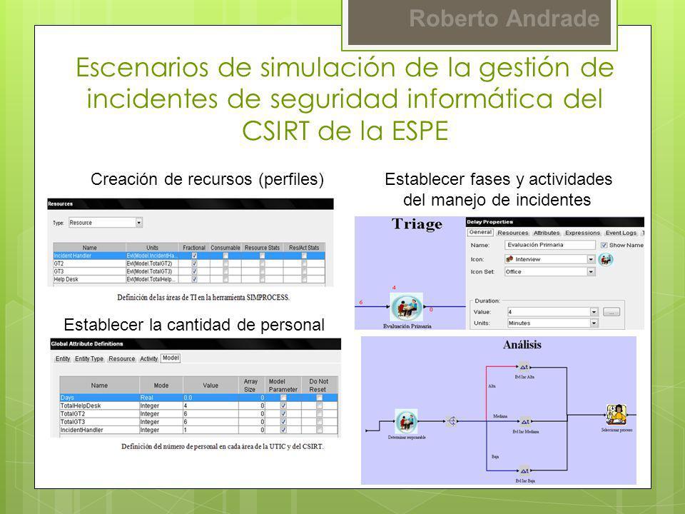 Escenarios de simulación de la gestión de incidentes de seguridad informática del CSIRT de la ESPE