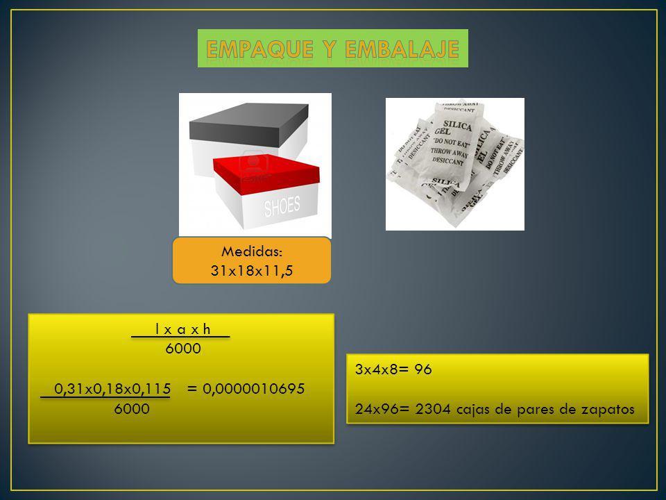 Empaque y embalaje Medidas: 31x18x11,5 l x a x h 6000