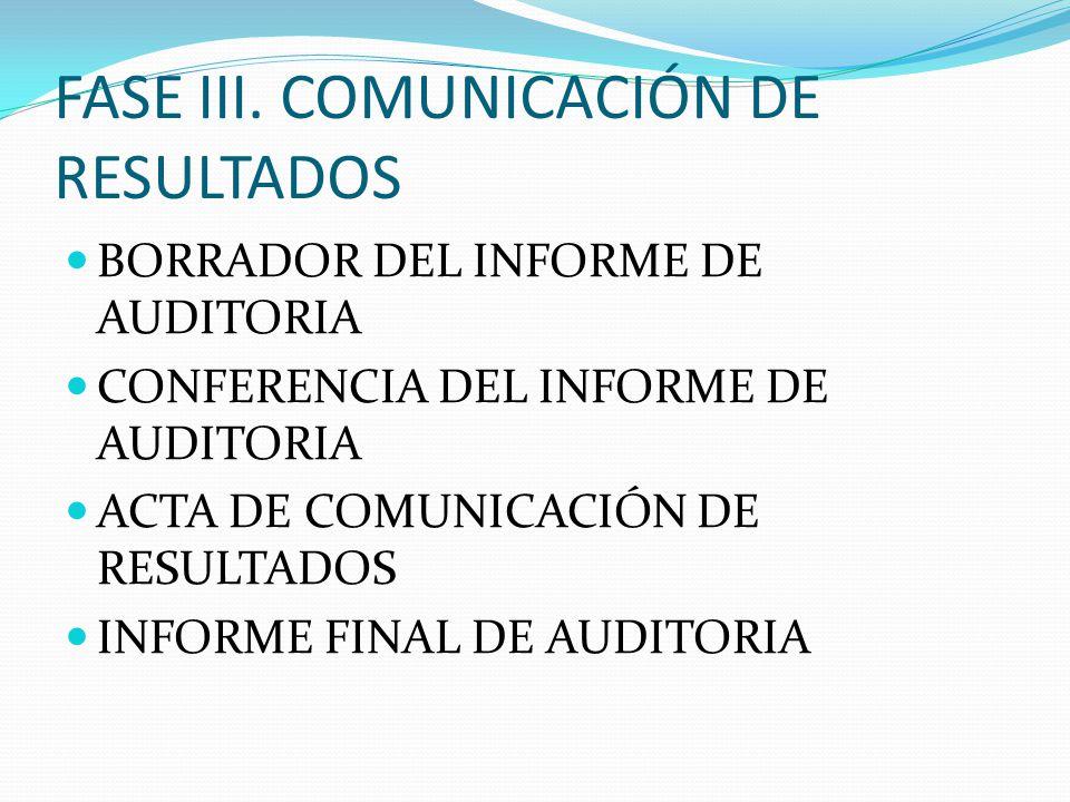 FASE III. COMUNICACIÓN DE RESULTADOS