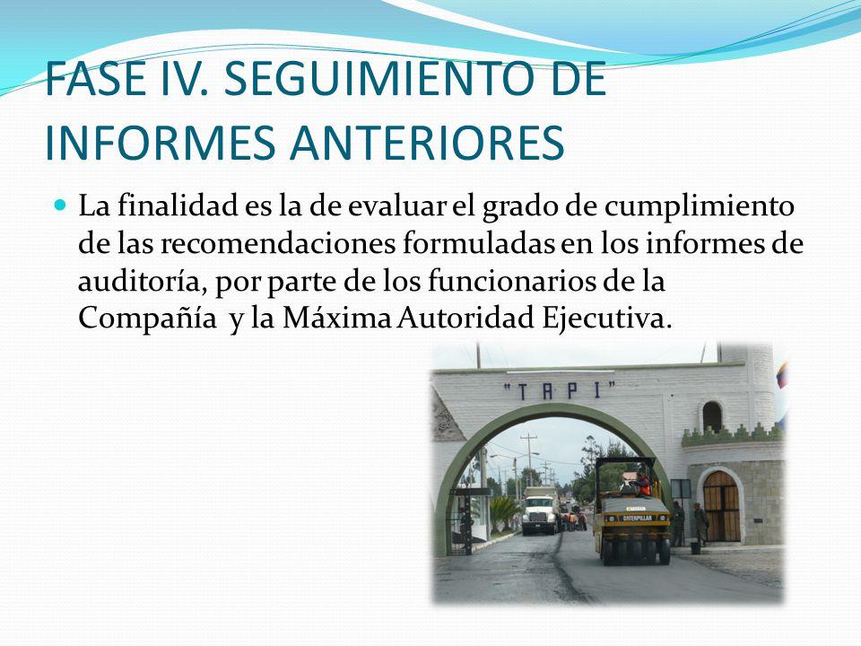 FASE IV. SEGUIMIENTO DE INFORMES ANTERIORES