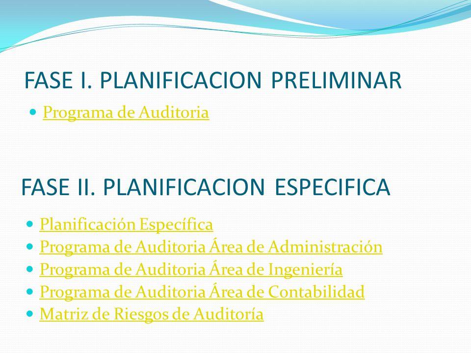 FASE I. PLANIFICACION PRELIMINAR