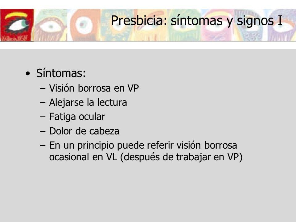 Presbicia: síntomas y signos I