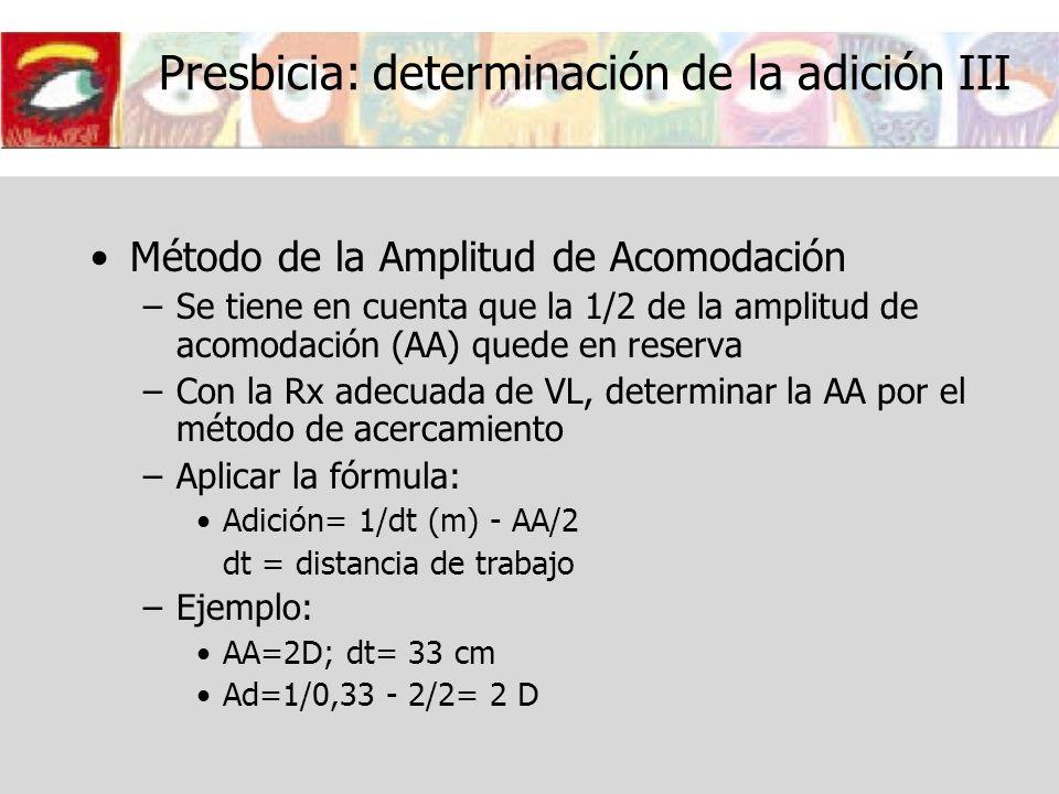Presbicia: determinación de la adición III
