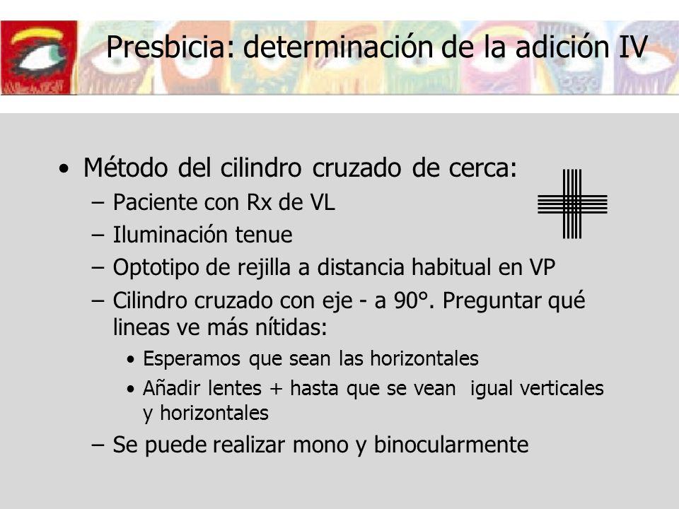 Presbicia: determinación de la adición IV