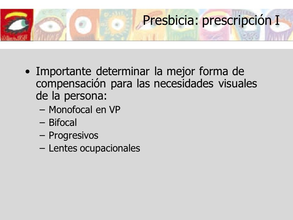 Presbicia: prescripción I