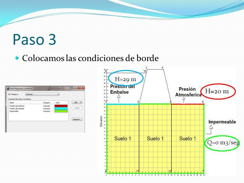 Paso 3 Colocamos las condiciones de borde H=29 m H=20 m Q=0 m3/seg