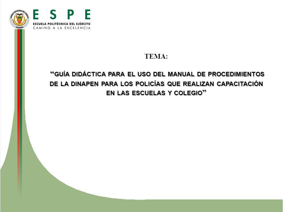 TEMA: guía didáctica para el uso del manual de procedimientos de la dinapen para los policías que realizan capacitación en las escuelas y colegio