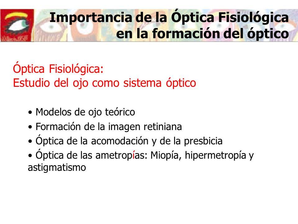 Importancia de la Óptica Fisiológica en la formación del óptico