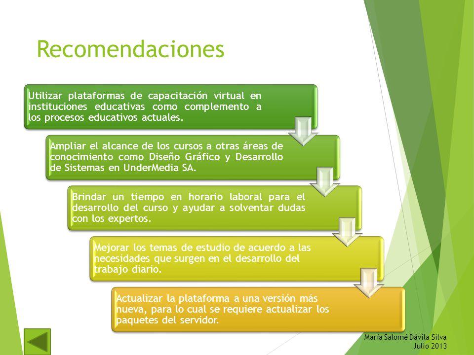Recomendaciones María Salomé Dávila Silva Julio 2013