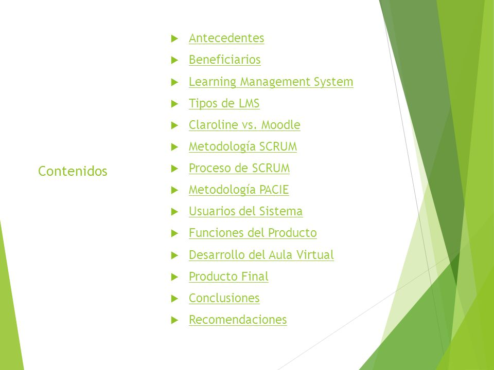 Contenidos Antecedentes Beneficiarios Learning Management System