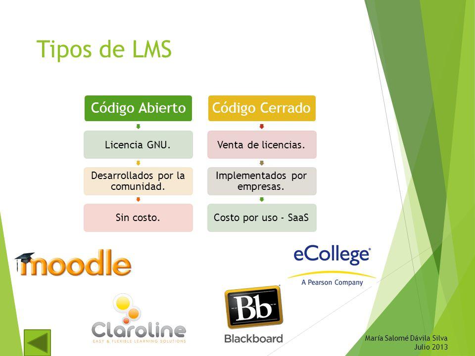 Tipos de LMS María Salomé Dávila Silva Julio 2013 Código Abierto