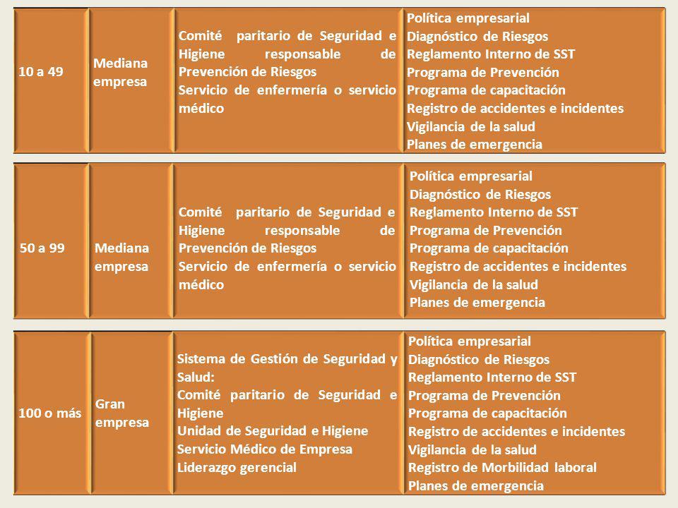 10 a 49 Mediana empresa. Comité paritario de Seguridad e Higiene responsable de Prevención de Riesgos.