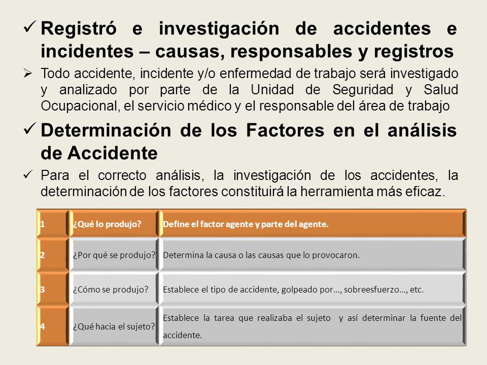 Determinación de los Factores en el análisis de Accidente