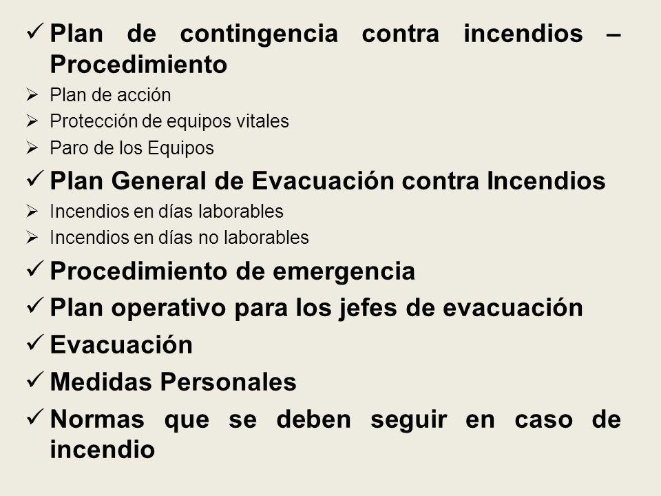 Plan de contingencia contra incendios – Procedimiento