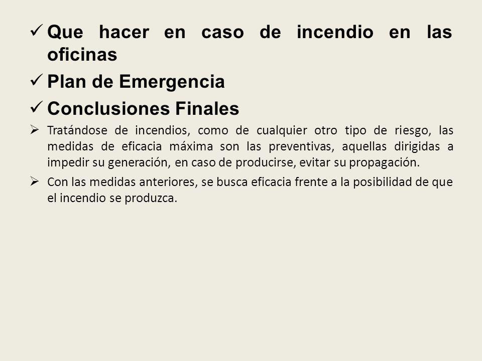 Que hacer en caso de incendio en las oficinas Plan de Emergencia