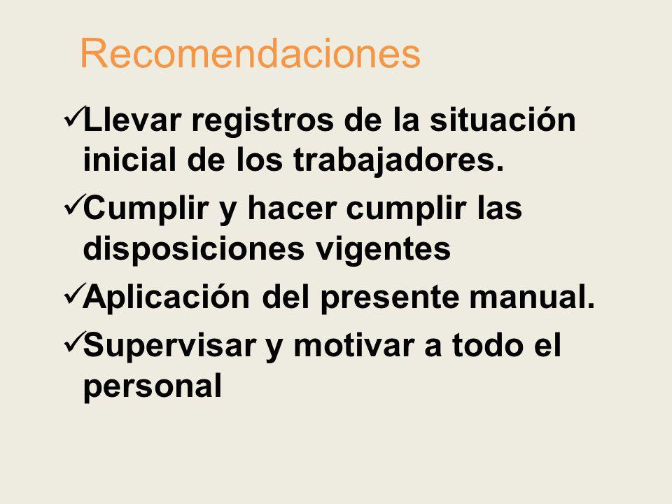 Recomendaciones Llevar registros de la situación inicial de los trabajadores. Cumplir y hacer cumplir las disposiciones vigentes.