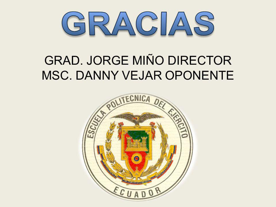 GRACIAS GRAD. JORGE MIÑO DIRECTOR MSC. DANNY VEJAR OPONENTE